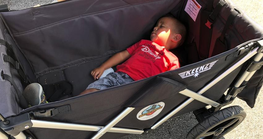 Main Street Stroller - Baby sleeping in stroller wagon