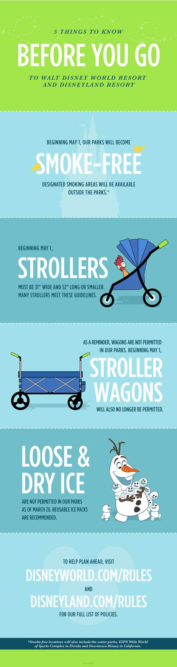 Infographic on Disney's New Stroller Wagon, Smoking and Ice Rules