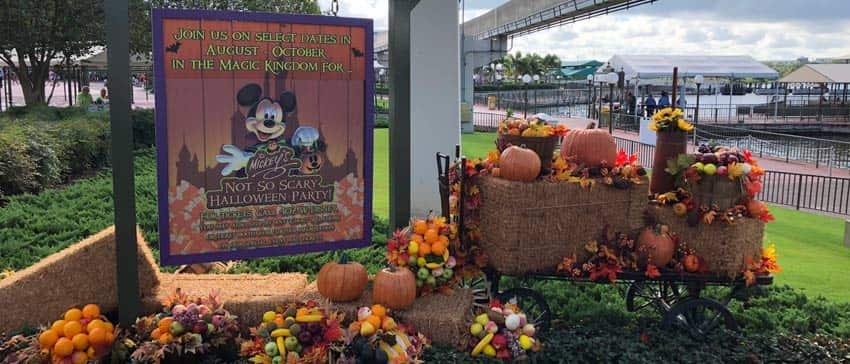 Sign at Magic Kingdom announcing Mickey's Not-So-Scary-Halloween Party with Halloween decorations around it.