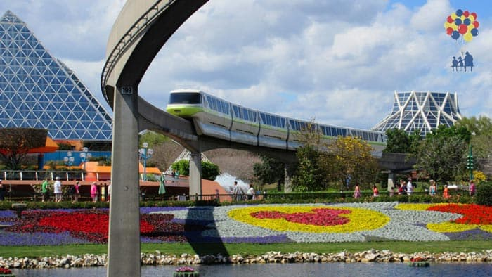 The Monorail in Epcot at Walt Disney World in Orlando Florida.