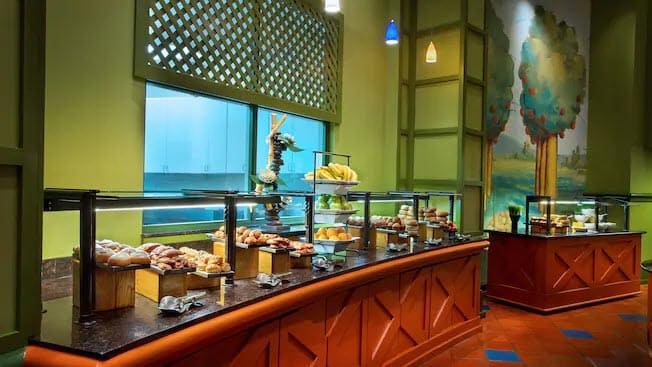 Breakfast buffet at the Garden Grove restaurant at Walt Disney World Swan Hotel.