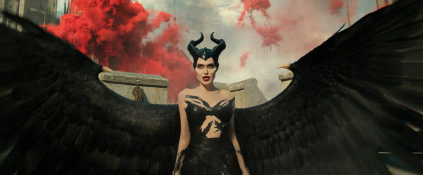 Maleficent stands with her wings outstretched in the Disney film Maleficent Mistress of Evil